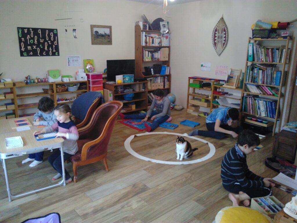 même la chatte est concentrée !! Les enfants aiment ce qu'ils font et ça se ressent !